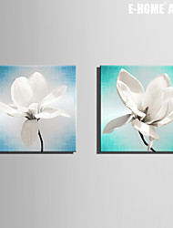 E-HOME® Stretched Canvas Art White Jade Orchid Decoration Painting  Set of 2