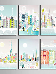 E-HOME® Stretched Canvas Art Colorful Urban Buildings Series Decoration Painting MINI SIZE One Pcs