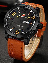 NAVIFORCE Men's Military Watch Calendar Quartz Japanese Quartz Leather Band Casual Luxury Black Orange Brown