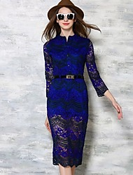 Women's Fashion Color Block Lace Stand Neck Mid Dress