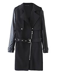 Manteau Aux femmes Manches Longues Simple / Street Chic Polyuréthane / Coton