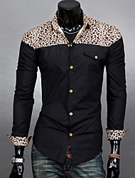 Brand Fashion Men's Long Sleeve Leopard Patchwork Slim Shirt,Cotton / Polyester Casual / Work Print Hot