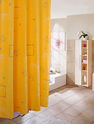 Starfish Yellow Waterproof Polyester Shower Curtain 180X200