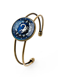 Lureme® Time Gem The Zodiac Series Scorpio Disc Cuff Bangle Bracelet for Women and Girl