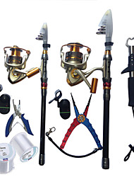 11Pcs Family Fishing Combo Father And Son Set Fishing Rods,Reels,Pliers,Bite Alarms,Lines,Gripper Combo