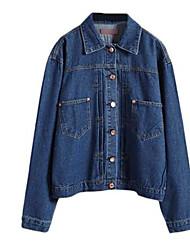 Women's Solid Blue / Black Denim Jackets,Street chic Shirt Collar Long Sleeve