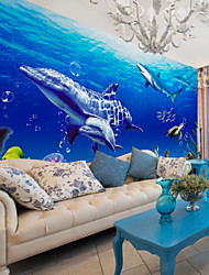 JAMMORY Art Deco Wallpaper Contemporary Wall Covering,Non-woven Paper Large Ocean Dolphin Wallpaper Mural