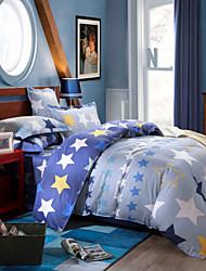 Five-pointed star 100% Cotton Bedclothes 4pcs Bedding Set Queen Size Duvet Cover Set