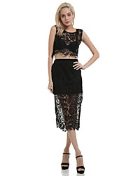 Women's White/Black Floral Lace Skirt Set (Blouse&Skirt)