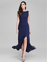 TS Couture Formal Evening Dress - Furcal Sheath / Column Scoop Ankle-length Georgette with Side Draping