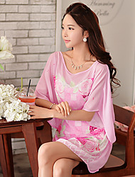 Women's Sexy / Street chic Floral Loose / Chiffon Dress,Round Neck Above Knee Polyester / Spandex