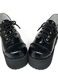 Punk Cuero 8 Tacón Cuña Negro Zapatos de Lolita