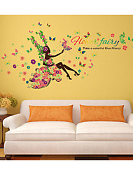 Flower Fairy Wall Sticker Butterfly Forals Decals Beauty Girl Swing Quotes Murals