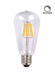 1 pezzo kwb E26/E27 5W / 6W 6 COB 600 lm Bianco caldo ST64 edison Vintage Lampadine LED a incandescenza AC 110-130 V
