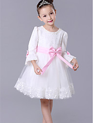 A-line Knee-length Lace Edge Flower Girl Dress-Cotton / Tulle 3/4 Length Sleeve