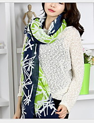 Super Beautiful Snowflake Line Printed Voile Green Scarf Mixed Colors Scarves
