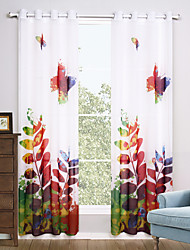 Two Panels Modern Floral / Botanical Multi-color Living Room Polyester Sheer Curtains Shades 140cm Per Panel