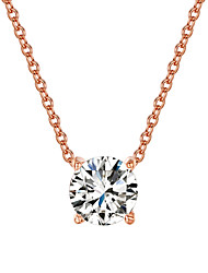 HKTC Women's Concise 18K Rose Gold Plated with 4 Prongs 7mm CZ Stone Pendant Necklace Fashion Brand Jewelry