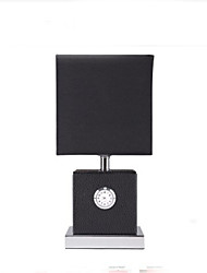 Cloth Art Leather Bedroom Bedside Clock Small Desk Lamp