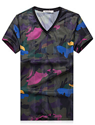 Men's Fashion Chinese Style Print V Neck Silk Slim Fit Short-Sleeve T-Shirt