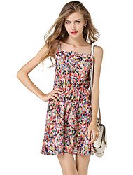 Women's Street chic Multi-color Polka Dot Chiffon Dress,Strap Above Knee Polyester