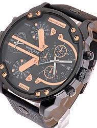 Мужской Наручные часы Защита от влаги Кварцевый Кожа Группа Люкс Черный
