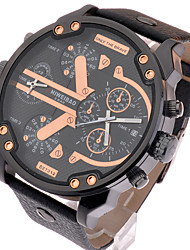 Masculino Relógio de Pulso Impermeável Quartzo Couro Banda Luxuoso Preta