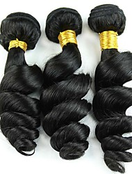 3Pcs/Lot 150g 8-26inch Peruvian Virgin Hair Loose Wave Black Color Raw Human Hair Weaves Wholesales.