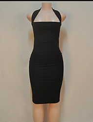Women's Sexy Solid Bodycon Dress,Halter Knee-length Cotton / Polyester