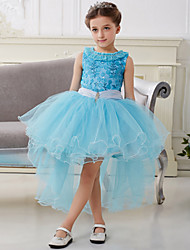 European Style Sky Blue Chiffon Sequined  Ball Gown Asymmetrical Flower Girl Dresses