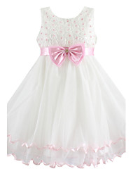 Girl's Floral Dress,Cotton / Organza Summer / Spring Pink / White