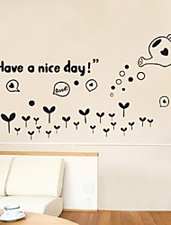 Have A Nice Day Wall Quote Decor Sticker Black Flowers Sweet Home Lettering Art Mural Bedroom Living Room