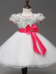 Robe Fille de Polyester Eté Blanc