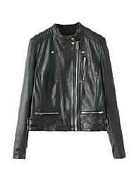 Women's Solid Black Leather Jackets,Street chic Stand Long Sleeve