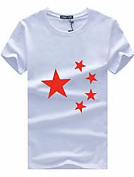 Herren T-shirt-Druck Freizeit / Übergröße Baumwolle Kurz-Rot / Weiß