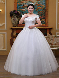 A-line Wedding Dress Floor-length Off-the-shoulder Lace / Tulle with Crystal / Lace