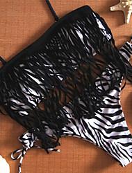 Women's Bandeau Bikinis,Tassels Padded Bras Nylon / Spandex Blue / Black