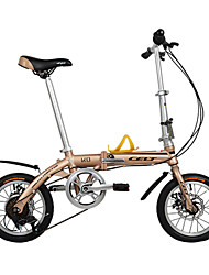 Dequilon 14-inch six gear folding bike cycling gold disc market