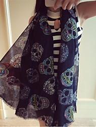 Ms Summer Sun Korean Fashion Skull Printed Scarves Muffler Wholesale Scarves