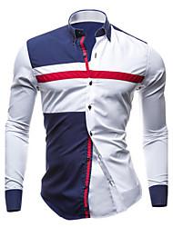 Camisa De los hombres Bloques Casual / Tallas Grandes-Algodón-Manga Larga-Azul / Blanco