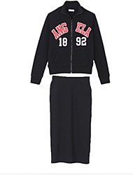 Women's 2 Pcs Suits Letter Number Print Hoody Skirt