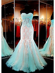 Mermaid / Trumpet Sweetheart Floor Length Lace Tulle Evening Dress with Beading