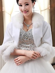 Wedding  Wraps / Fur Wraps / Hoods & Ponchos Capelets 3/4-Length Sleeve Faux Fur White Wedding / Party/EveningShawl Collar / Rolled