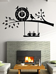 Diy Creative Birds Nest Clock Watches Living Room Bedroom Wall Stickers Decorative Wall Stickers Pvc With Bell