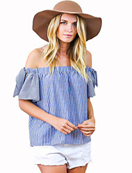 Women's Casual/Daily Cute Summer Blouse,Striped Boat Neck Short Sleeve Blue Cotton Medium