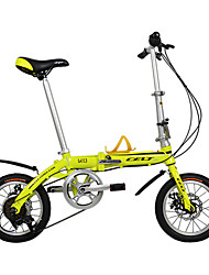 Dequilon 14-inch six gear folding bike disc brakes bicycle yellow tape