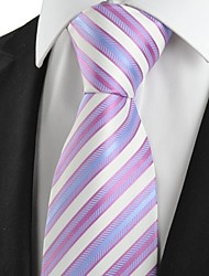 KissTies Men's Striped Pink White Light Blue Microfiber Tie Necktie For Wedding Party Holiday With Gift Box
