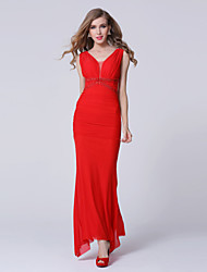 Formal Evening Dress Sheath / Column V-neck Ankle-length Tulle with Crystal Detailing