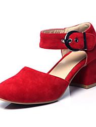 Women's Shoes Fleece Chunky Heel Heels Heels Wedding / Office & Career / Party & Evening / Dress / Red