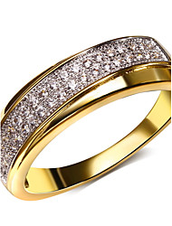 Women's 2 Layers Overlap Round CZ Rings Lead Free Cubic Zirconia Setting Platinum Plated Bridal Wedding Ring